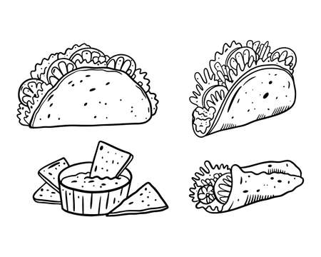 Mexican food set. Black color outline vector illustration. Isolated on white background. Design for poster, banner, menu, cafe and web.  イラスト・ベクター素材