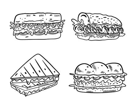Sandwiches cartoon set collection. Hand drawn vector illustrtion. Black color outline style. Isolated on white background. Design for banner, poster, menu board.  イラスト・ベクター素材