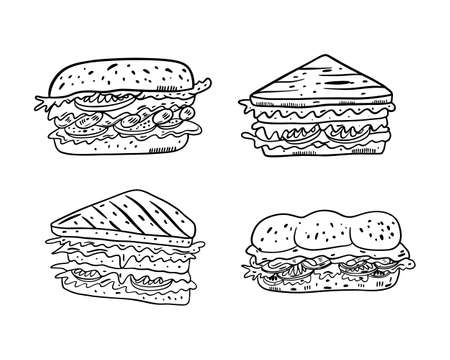 Four Sandwiches set. Hand drawn vector illustrtion. Black color outline style. Isolated on white background. Design for banner, poster, menu board.