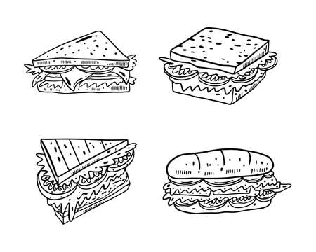 Black color Sandwiches set in outline style. Hand drawn vector illustrtion. Isolated on white background. Design for banner, poster, menu board.  イラスト・ベクター素材