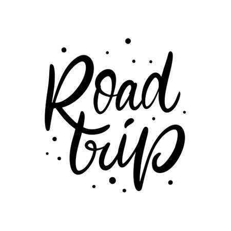 Road Trip. Black color text. Modern lettering phrase. Vector illustration. Isolated on white background.
