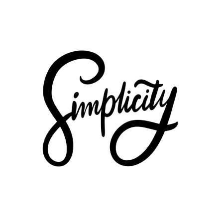 Simplicity word text. Black color. Hand drawn vector illustration. Isolated on white background. Ilustracja