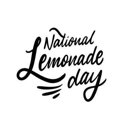 National lemonade day. Black text color. Hand drawn vector illustration. Isolated on white background.