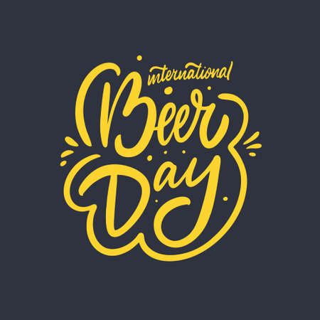 International Beer Day phrase. Modern typography lettering. Vector illustration. Isolated on black background. Design for poster, banner, print and web. Иллюстрация