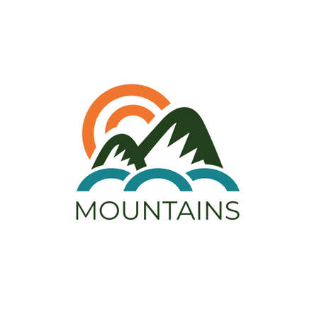 Mountains phrase. Logo concept. vector illustration. Isolated on white background. Design for web and print.