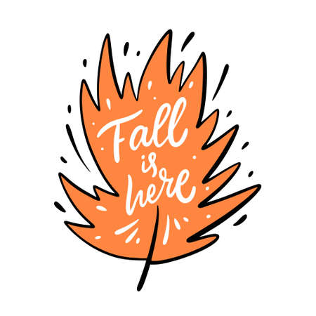 Fall is here hand lettering phrase. Vector illustration. Isolated on white background. Иллюстрация