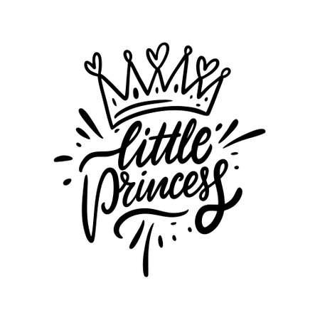 Little Princess. Black color lettering phrase. Modern calligraphy. Vector illustration.