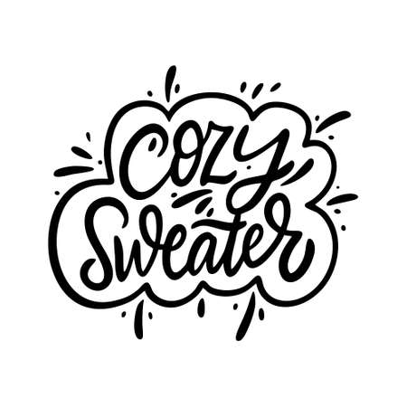 Cozy Sweater. Black color lettering phrase. Modern calligraphy. Vector illustration. Stock fotó - 155422930