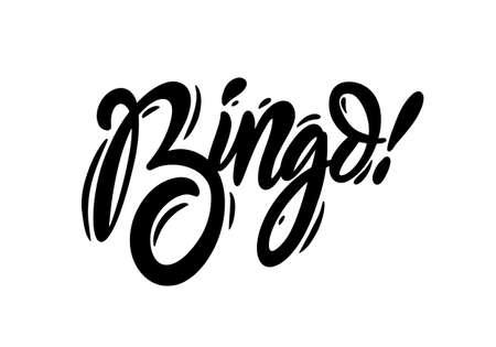 Bingo black text calligraphy. Hand lettering inscription. Vector illustration.