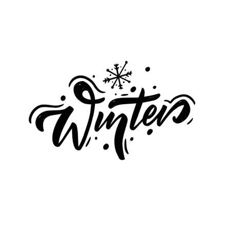Winter Lettering. Hand drawn calligraphy. Modern lettering.