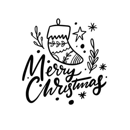 Merry Christmas. Hand drawn calligraphy. Modern lettering.