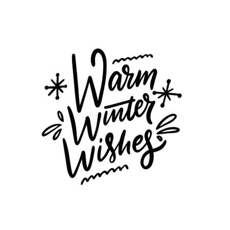 Warm winter wishes phrase. Hand drawn calligraphy. Modern Lettering.