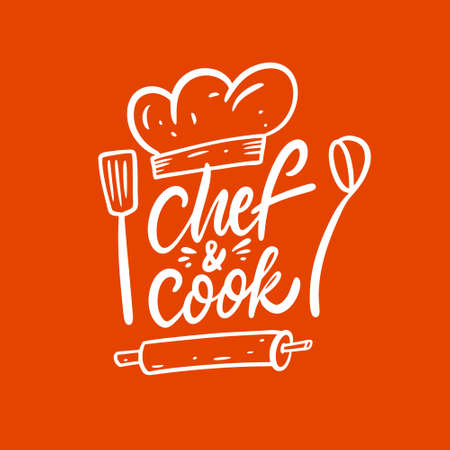 Chef and Cook. Hand drawn lettering phrase. Modern calligraphy.