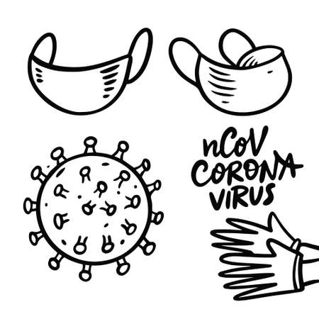 Corona Virus and mask cartoon style. Black vector illustration.