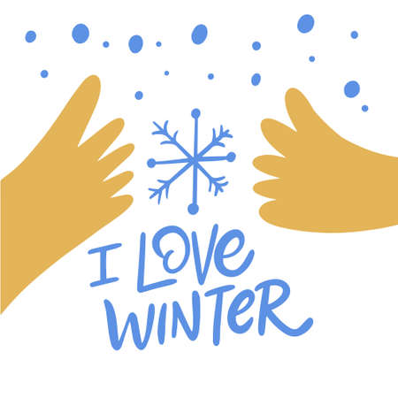 I love winter blue text and hands. Vector illustration.