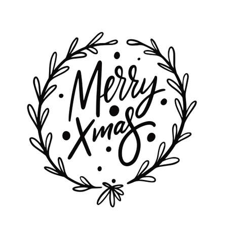 Merry Christmas calligraphy. Black color vector illustration.