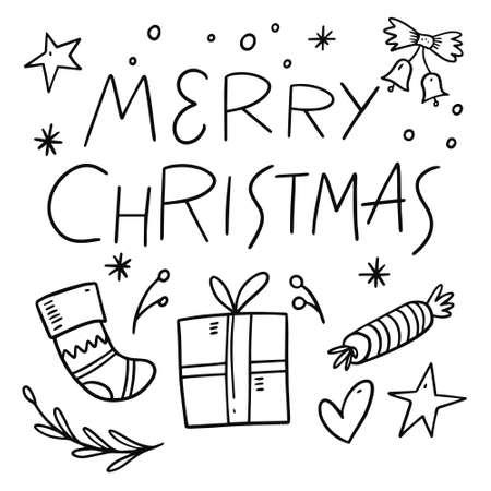 Merry christmas monochrome doodle set. Hand drawn lettering. Archivio Fotografico - 158457471