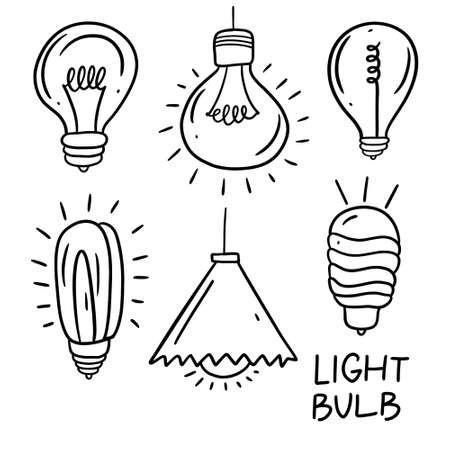 Light bulb black line vector illustration. Hand drawn doodle set.