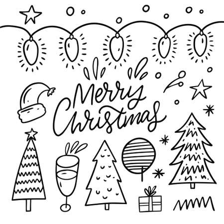Merry christmas black line vector illustration. Hand drawn doodle set. Holiday set. Archivio Fotografico - 158457473