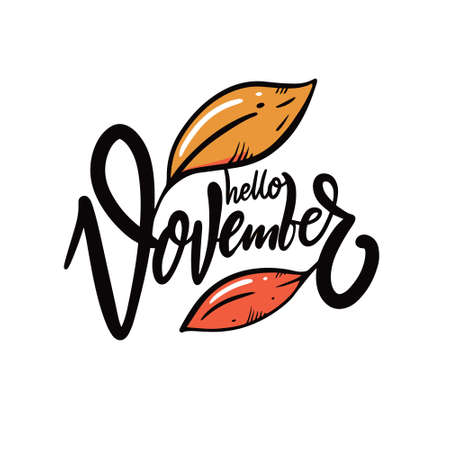 Hello November calligraphy. Hand drawn vector illustration.