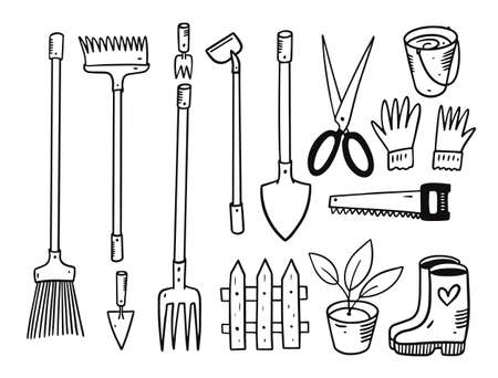 Garden tools set. Doodle vector illustration. Black color. Archivio Fotografico - 158457511