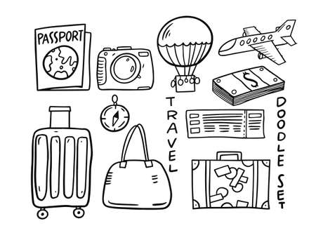 Travel elements doodle set. Hand drawn vector illustration.