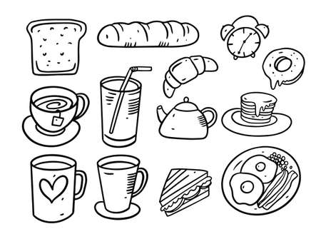 Breakfast elements doodle set. Hand drawn vector illustration. Illusztráció