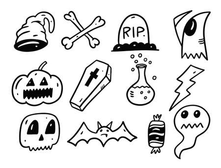 Halloween holiday set elements. Doodle style vector illustration. Illusztráció
