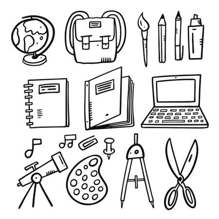 School set doodle vector illustration. Black outline.