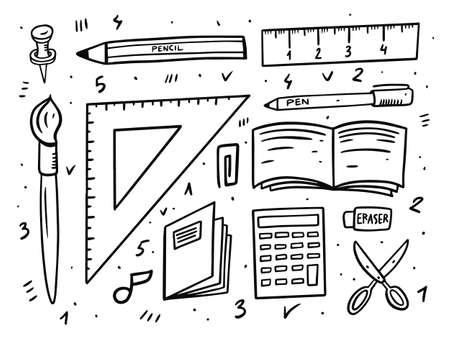 School elements tools. Doodle style vector illustration.