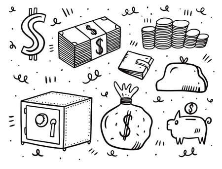 Money set elements. Doodle style vector illustration.