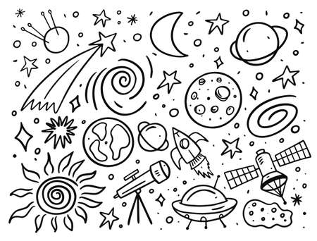 Space set elements. Doodle style vector illustration.
