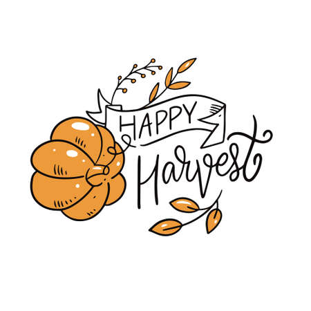 Happy Harvest phrase. Modern calligraphy. Cartoon style. Vector illustration.