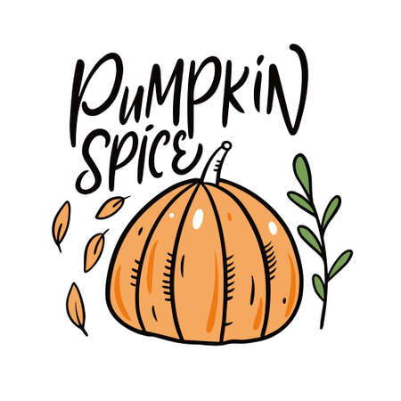 Pumpkin Spice. Modern calligraphy. Cartoon style. Vector illustration.