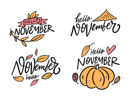Hello November phrase set. Modern calligraphy. Cartoon style. Vector illustration.