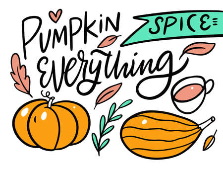 Pumpkin spice everything. Modern calligraphy phrase. Autumn holiday. Cartoon style. Illusztráció