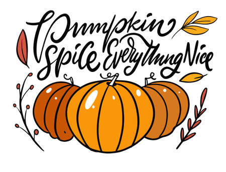 Pumpkin spice everything nice phrase. Modern calligraphy. Cartoon style.