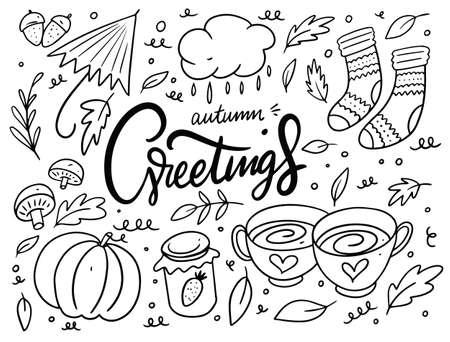 Autumn doodle set elements. Autumn greetings calligraphy. Black color. Cartoon style. Archivio Fotografico - 158675580