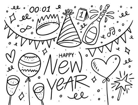 Doodle set elements for new year day. Black outline color in cartoon style.