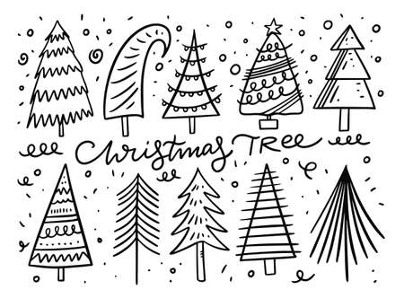 Christmas tree doodle elements set. Black ink. Vector illustration.