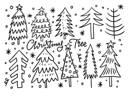 Christmas holiday tree set. Hand drawn sketch.