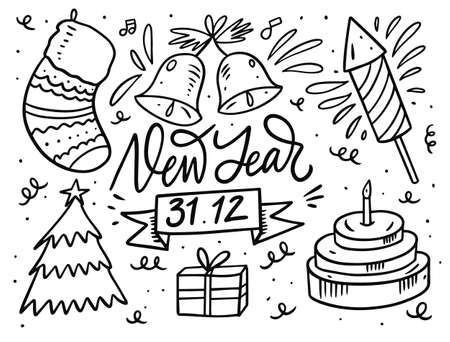 New year doodle set. Black outline color in cartoon style. Vector illustration.