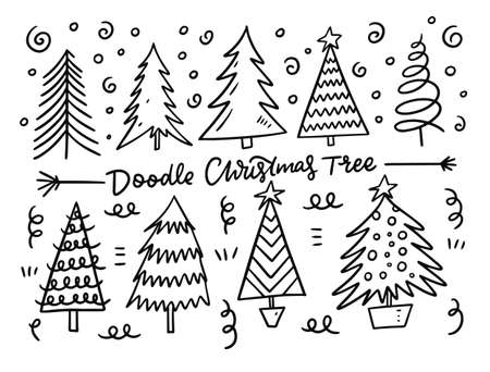 Christmas tree set. Black ink. Vector illustration.