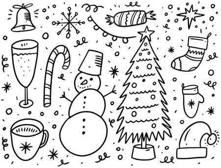 Christmas holiday doodle elements set. Black ink. Illusztráció