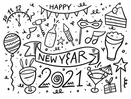 Happy new year doodle elements set. Black ink. Vector illustration.