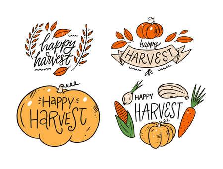 Happy Harvest phrase set. Modern calligraphy. Cartoon style. Vector illustration. Archivio Fotografico - 158675657