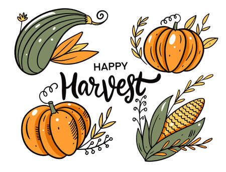 Happy Harvest. Autumn holiday. Cartoon style. Vector illustration.