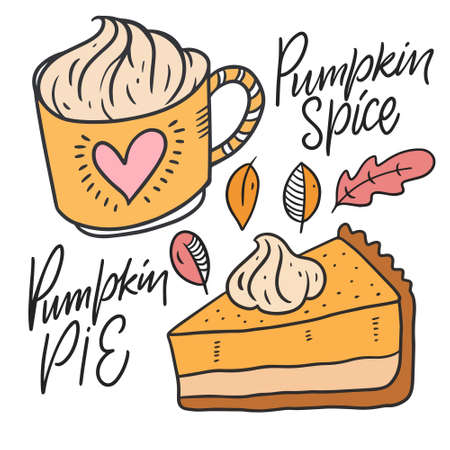 Pumpkin spice and Pumpkin pie. Hand drawn sketch. Line art style. Illusztráció