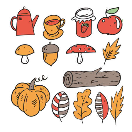 Autumn set, cup, teapot, jam, wood, leaf, pumpkin, nut, and leaves. Line art style.