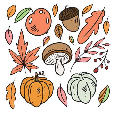 Autumn elements set. Leaves, pumpkin, apple. Line art colorful style.